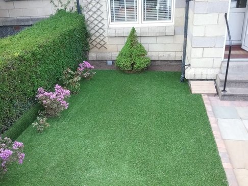artificial grass laid with flowers