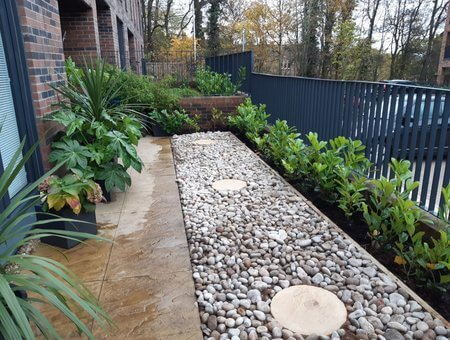 front garden with planting and stone designs