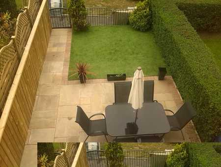 patio with astro turf in a small back garden