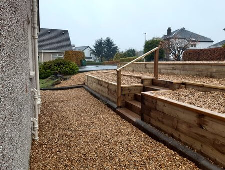 small timber built planting area