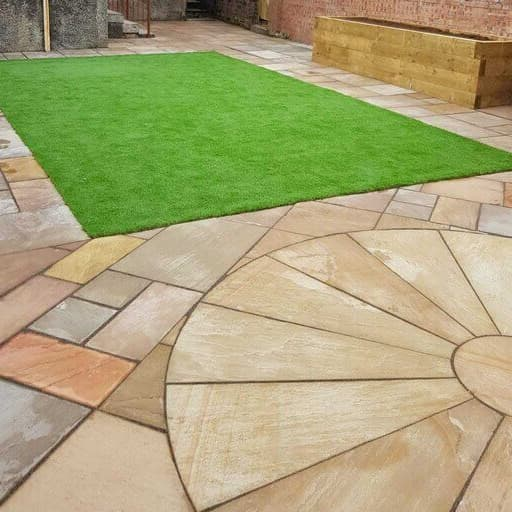 back garden patio with Indian sandstone slabs