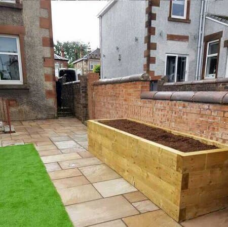 garden patio with large planter for planting