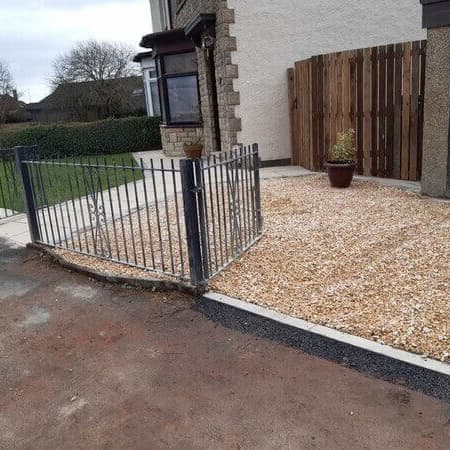 house front drive with gravel