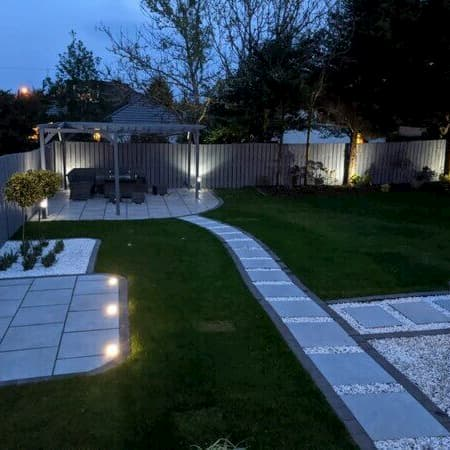 large patio seating area with led lighting