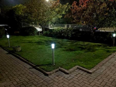 new garden lawn with night led spike lights